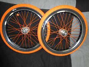 OLD SCHOOL BMX WHEELSET 20 SEALED 3/8 AXLES Orange - Polished Aluminum Rant Tire