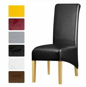 XL Size Waterproof PU Leather Dining Chair Covers Stretch Seat Protector Cushion