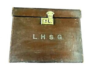 Vintage Leather Travel Case 26x34x19cm Period Piece with Original Transit Labels