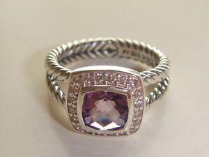 DAVID YURMAN , SILVER  ALBION PETITE AMETHYST DIAMOND ICE RING