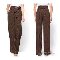 New York and Company Brown Polka Dot Palazzo Pants Size 10 NWT