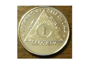 Steps to Recovery 9 Year Gold Plate AA Medallions token sobriety