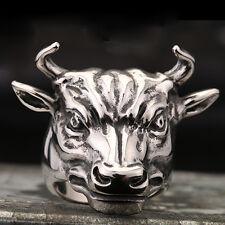 NEW 316L Stainless Steel Ring Mens Jewelry Bulls Head CB74 Sz 9