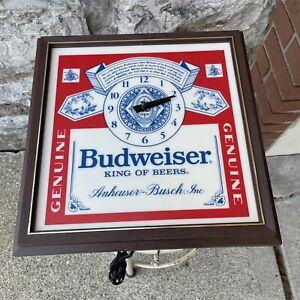 "Vintage 1981 Budweiser Beer Light Clock Sign 80s Man Cave Anheuser Busch 13.5"""