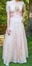 1930s Peach Lace Dress Fall Wedding XS S 2 4 Antique Vintage