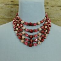 Vintage 5 Strand Beaded Necklace 1950s Hong Kong