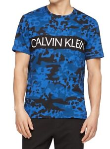 Calvin Klein Men Sleepwear Blue Black Large L Camo Logo Crewneck T-Shirt $34 193