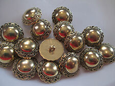 LOT OF 15 ANTIQUE GOLD COLOR 1 INCH SHANK BUTTONS, NEW