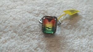 Watermelon Tourmaline Emerald Cut Ring. Size 7. 925.