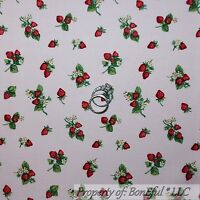 BonEful Fabric FQ Cotton Quilt VTG Pink White Red Strawberry Flower Green Leaf S