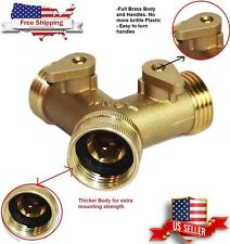 Heavy Duty Garden Water Hose All Brass Manifold 2 Way Swivel Y Splitter Shutoff