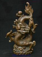 "14"" Chinese Folk FengShui Copper Bronze Wealth YuanBao Coin Dragon Beast Statue"