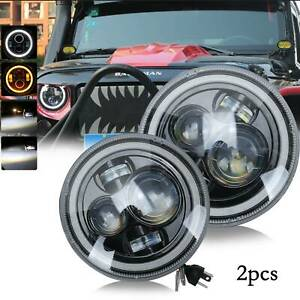 "2pcs Hi/Lo + HALO 7"" Inch Angel Eye LED HEADLIGHT PAIR for Land Rover Defender"