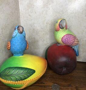 Set Alexander Flores Parrot on Mango & Apple  Colorful Sculpture Signed *READ !*