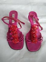 VALENTINA RUSSO Size 5 PINK Leather SUEDE Red FLORAL Strappy KITTEN Heel SANDALS