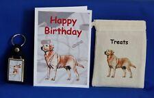 GOLDEN Labrador Gift Set con carta di compleanno borsa di tela trattare e portachiavi