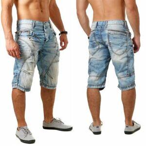 Cipo & Baxx Herren Jeans Shorts kurze Hose Kontrastnähten Vintage Look C-0090