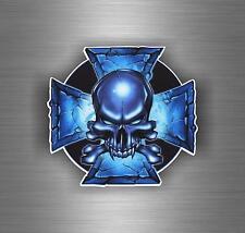 Sticker car motorcycle helmet decal chopper maltese cross skull biker r6