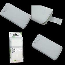 iPhone 4 4S Echt Ledertasche Cover Slim Case Schutzhülle Etui Weiß Neu & OVP