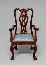 Vintage Bespaq Blue Satin Side Chair Dollhouse Miniature 1:12