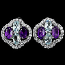 SKY BLUE TOPAZ AMETHYST GEMSTONE & CZ STERLING 925 SILVER EARRINGS