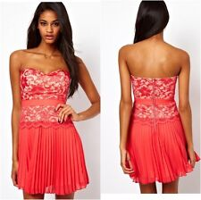 Elise Ryan Lace Bandeau Skater Dress with Pleated Skirt Prom Party  UK 8