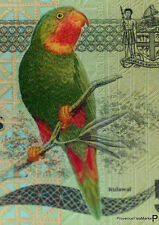 A ticket of FIDJI ,ZZ Replacement, PARROT , New , Polymer , 5 DOLLARS