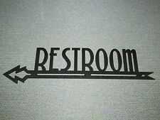 """LARGE 24"""" ART DECO STYLE WOODEN RESTROOM ARROW LEFT POINTING SIGN"""