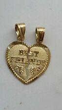 10k real solid Yellow Gold 2 piece Best Friends Split Heart Pendant
