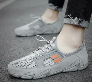 Mens Casual Round Toe Flats Sports Hiking Shoes Breathable Mesh Outdoor Sneakers
