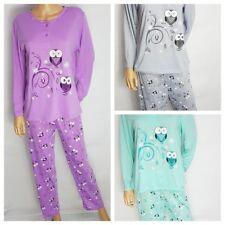 Ladies Long Sleeve Pyjamas Animated Owl Character Patterned PJ Set Size 8 - 20