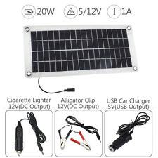 20w Waterproof Battery Solar Panel 12v/5v DC USB Home for Phone RV Car Charger