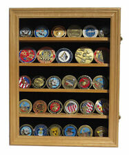 LOCKABLE Military Challenge Coin Display Case Cabinet Pin Medal Shadow Box