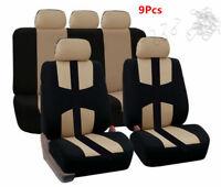 Car Seat Covers Black Beige Set Fit For Most Car Models 9Pcs/Set