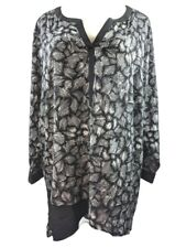 Catherines Womens Asymmetrical Tunic Plus Sz 3X 26/28 Chiffon Black White Work