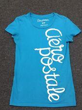 Aeropostale Graphic Blue T-Shirt Size Small Junior Women's