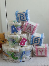 3 Tier Diaper Cake Winnie the Pooh ABC Alphabet Baby Shower Gift Centerpiece