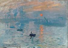 claude monet vintage painting art print sunrise boat artwork canvas large