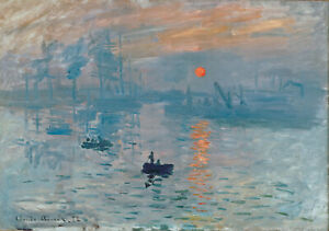 claude monet vintage painting art print sunrise boat artwork canvas large