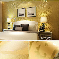 Damask Embossed 3D Textured Feature Art Wall Paper Project Wallpaper Roll Gold