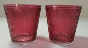 Yankee Candle - Set of 2 - Burgundy Glass Votive Holders Wood Grain New with Tag