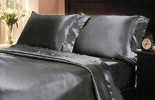 California King Bed Sheet Set Royal Once Gray Satin Silk Soft Bedding 4pc