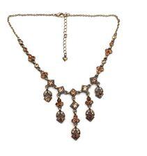 STRASS Halskette Vintage Collier Halskette Kette Strasskette Anhänger, braun NEU