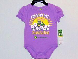 John Deere little girls one piece lavendar GRANDMA'S LITTLE SUNSHINE w/flowers