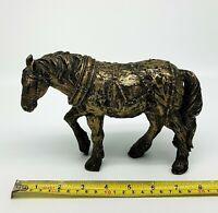 Work Shire Horse Gold Bronze Effect Statue Figurine Art Sculpture Ornament Gift