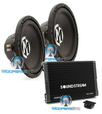 "pkg (2) MEMPHIS SRX12D4 12"" SUBWOOFERS + SOUNDSTREAM AR1.2500D CAR AMPLIFIER NEW"