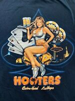 Hooters Casino Hotel Las Vegas T Shirt Men's Large Black Spell Out Graphic Tee