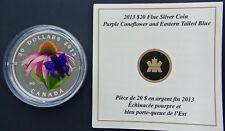 2013 Canada $20 1 oz Silver Purple Coneflower & Venetian Glass Blue Butterfly