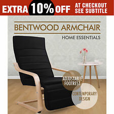 Artiss Bentwood Arm Chair Adjustable Wooden Recliner Lounge Fabric Cushion Black