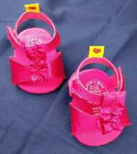 Build A Bear High Heels Pink Fuchsia Satin Dress Up Shoes Strappy Ruffle Plush